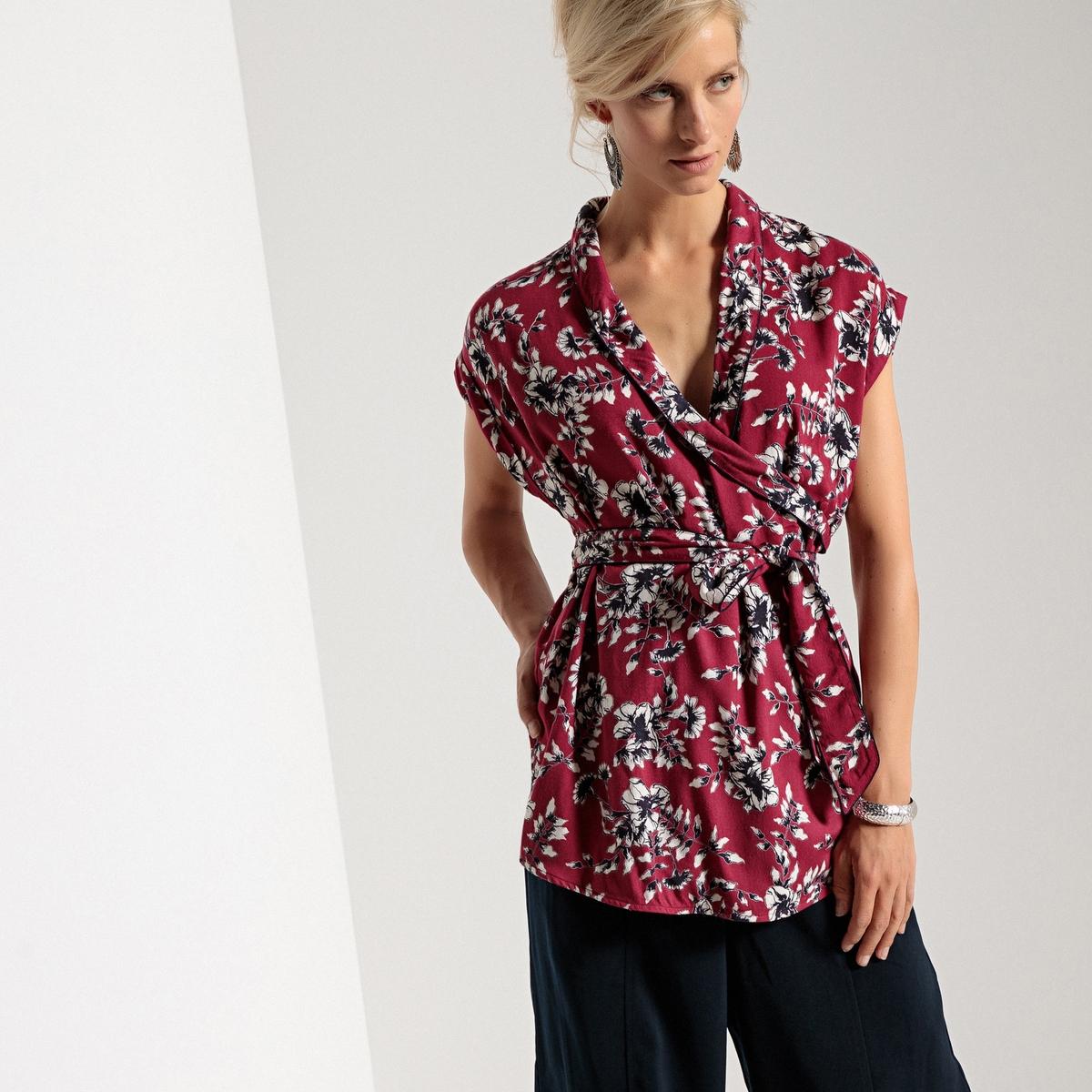 Блузка без рукавов с шалевым воротником и принтом кардиган большого размера с шалевым воротником на пуговицах