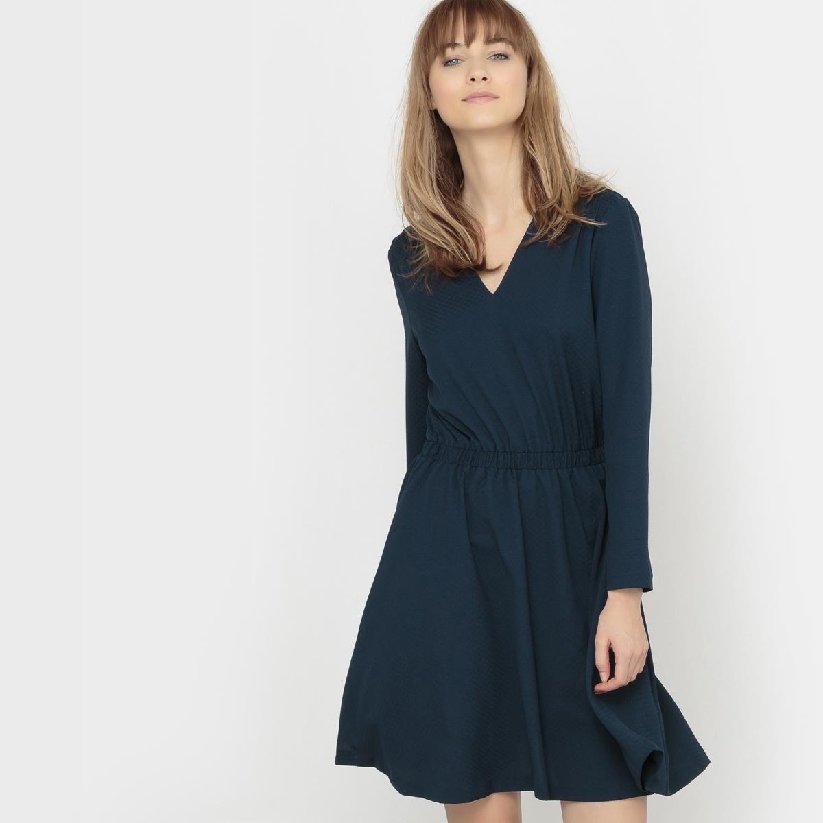 Платье с V-образным декольте и длинным рукавомСостав и описаниеМарка : KARL MARC JOHNМатериал :  100% полиэстер<br><br>Цвет: сине-зеленый,синий морской<br>Размер: M.M