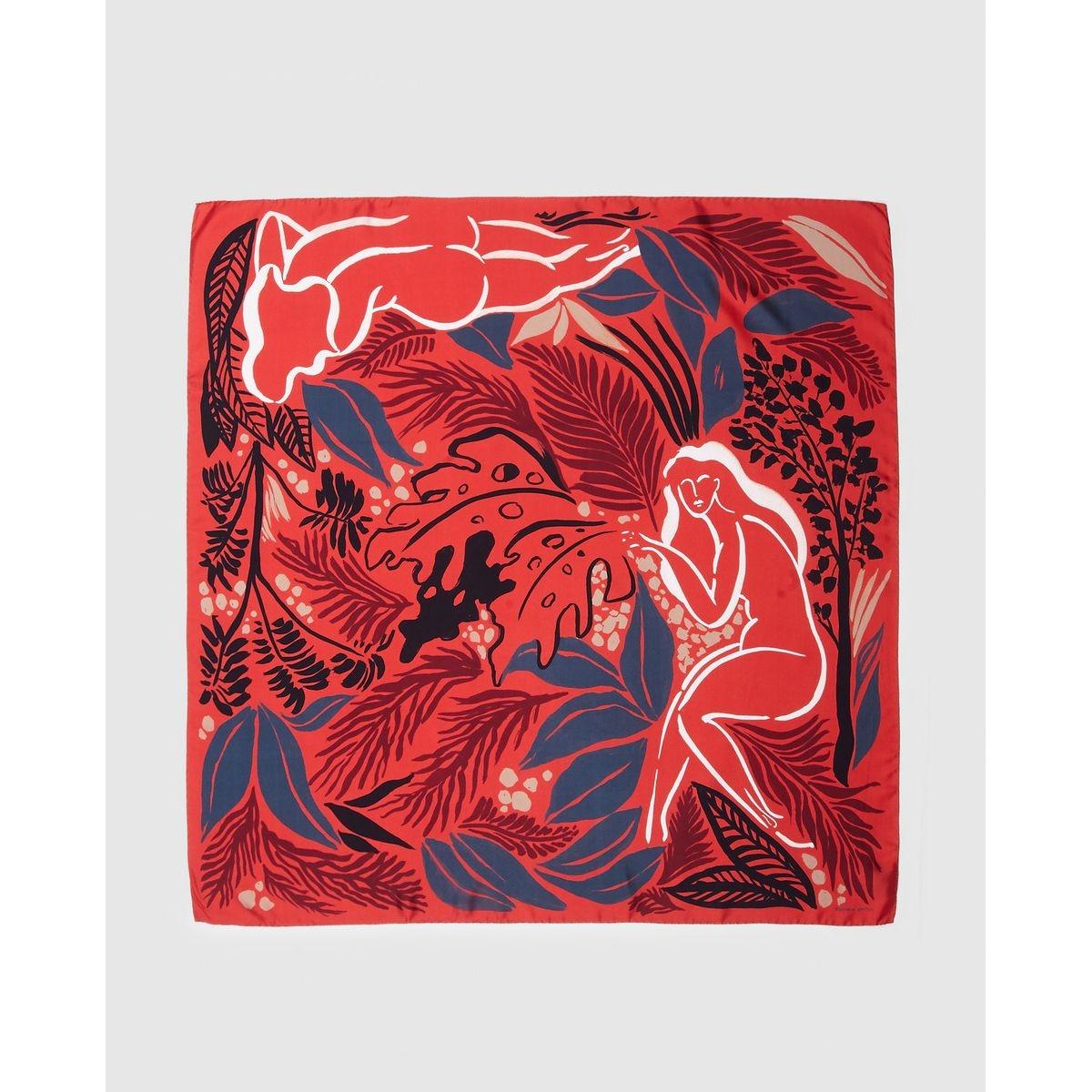 Foulard Eve en soie à imprimé combiné