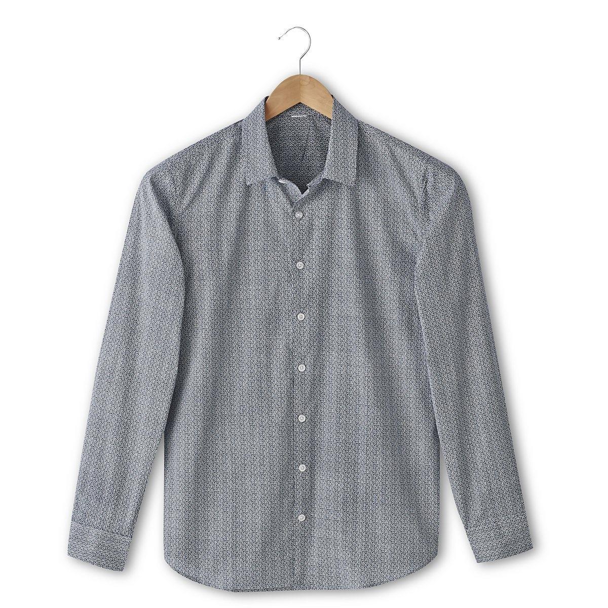 Рубашка с рисунком облегающего покрояРубашка с рисунком облегающего покроя: 69% хлопок, 28% полиамид, 3% эластан. Свободные уголки воротника. Длина 77 см.<br><br>Цвет: темно-синий<br>Размер: 37/38