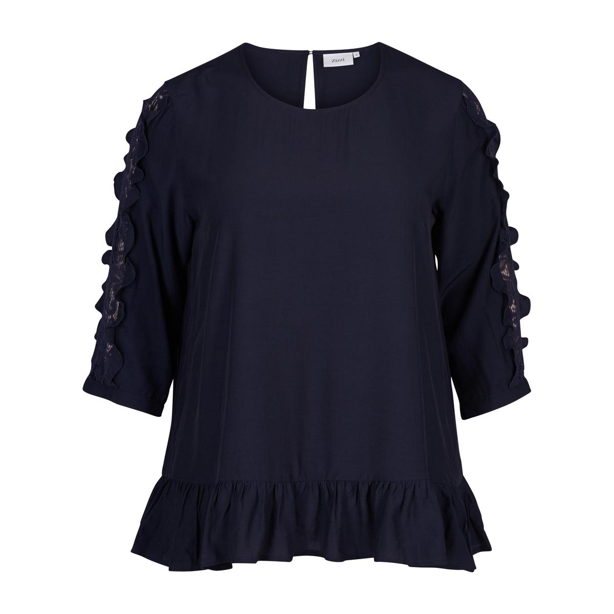 Блузка однотонная с круглым вырезом и рукавами 3/4 пуловер свободный с рукавами 3 4