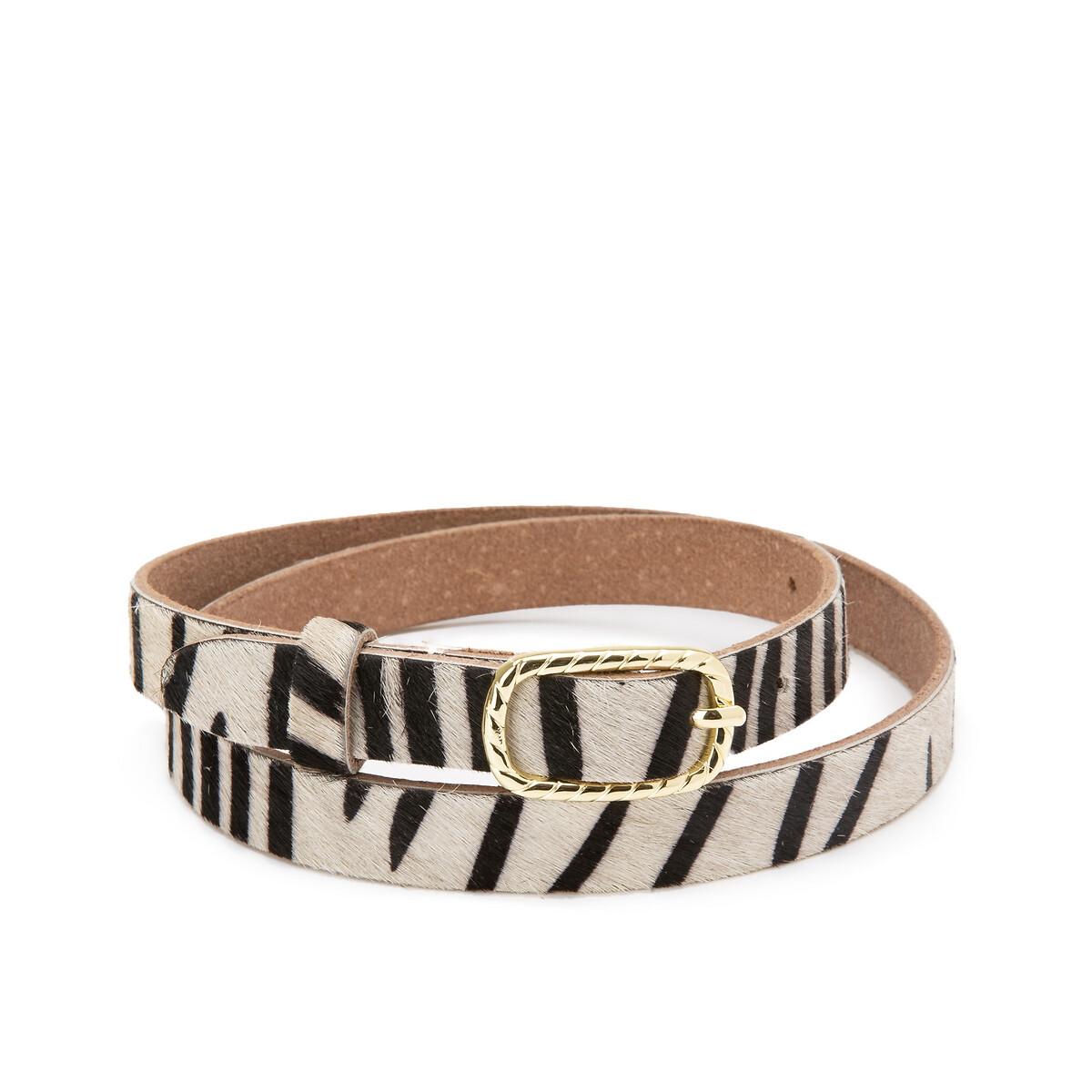 Fine ceinture en cuir motif zèbre