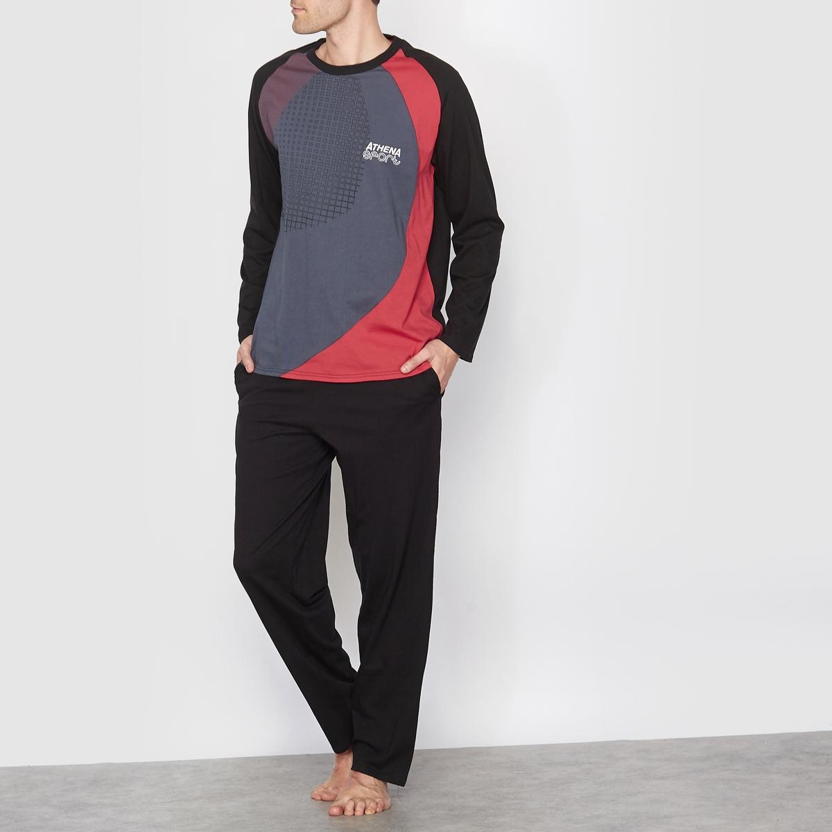 Пижама трёхцветная из джерсиСостав и описание:Материал: 100% хлопка.Марка: ATH?NA.<br><br>Цвет: черный/ красный