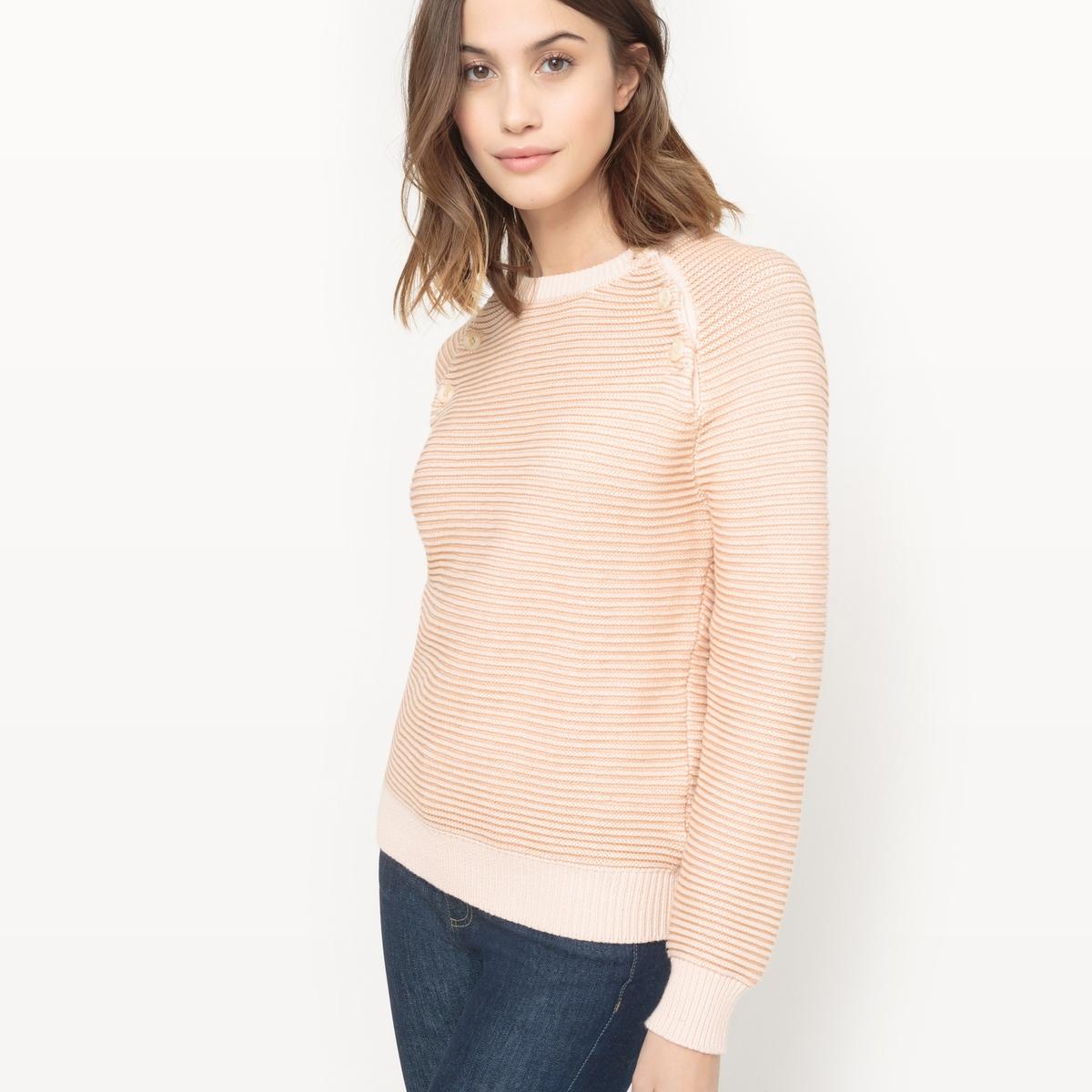 Пуловер в полоску, пуговицы на проймах рукава