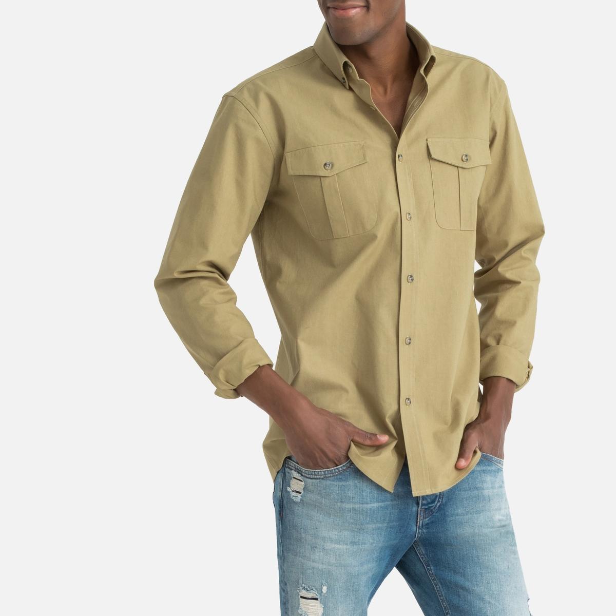 Camisa con corte recto y manga larga