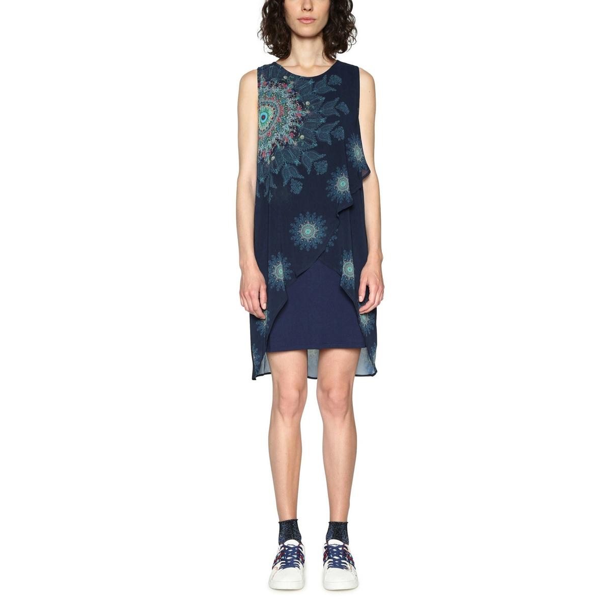 Платье короткое прямое с графическим рисунком, без рукавов салфетки duni комплект 3 упаковки по 20шт салфетки бумажные 3 слойные ваниль