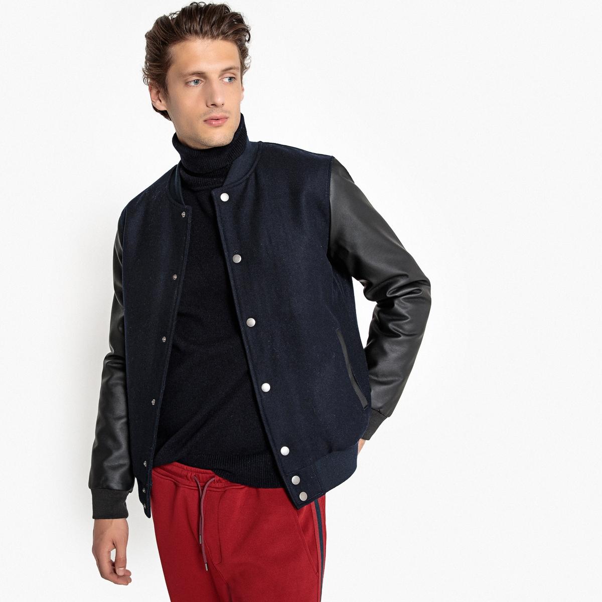 Блузон в стиле тедди из двух материалов из шерстяного драпа пальто из шерстяного драпа 70