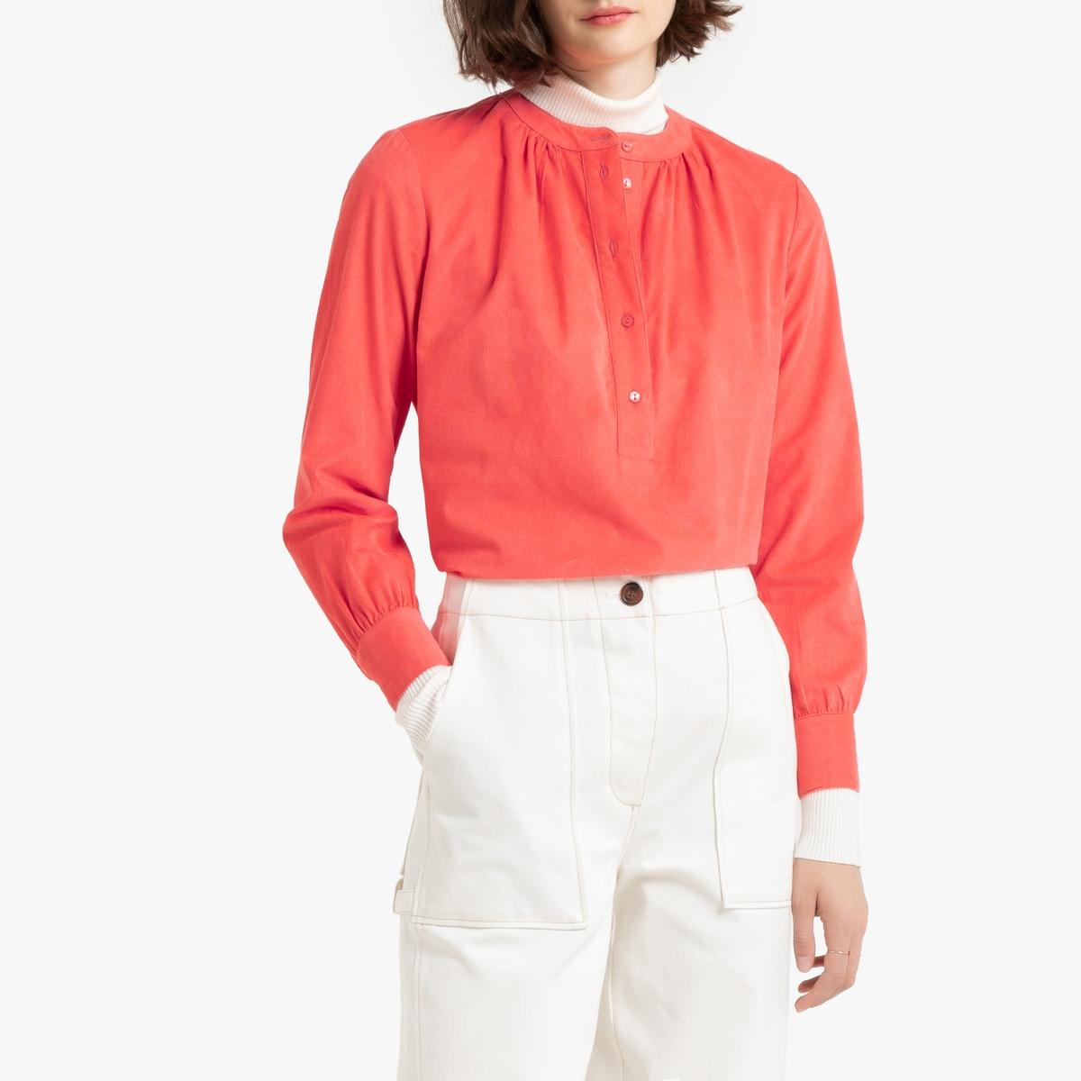 цена Блузка La Redoute С круглым вырезом с разрезом спереди и рукавами 34 (FR) - 40 (RUS) розовый онлайн в 2017 году