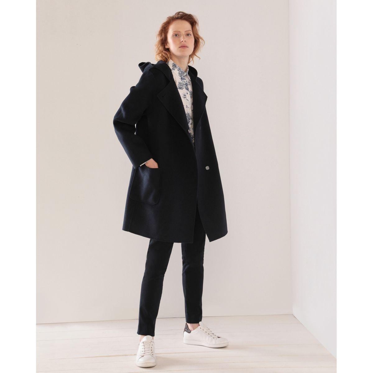 Manteau double face en laine mélangée