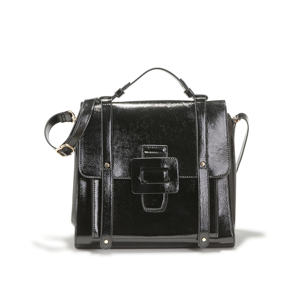Сумка La Redoute Лакированная UNI черный сумка клатч la redoute с помпонами uni черный