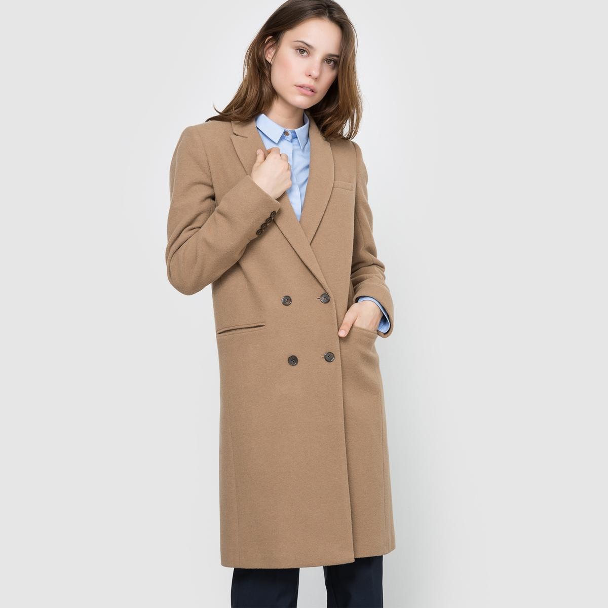 Пальто прямого покроя из шерстяного драпа пальто шинель из шерстяного драпа
