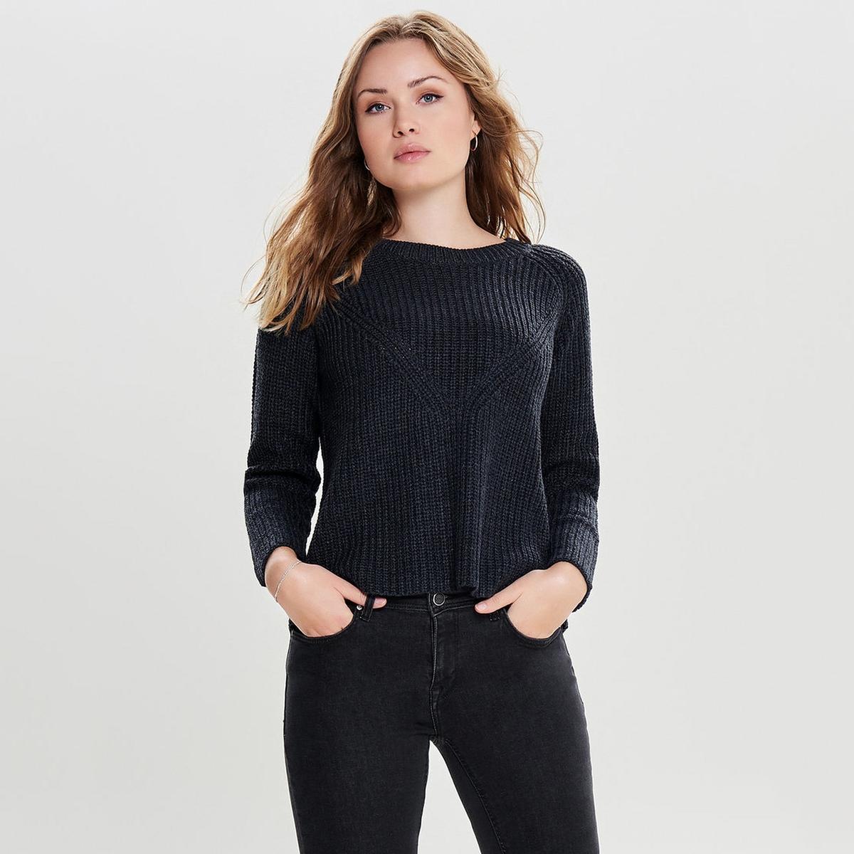 Пуловер La Redoute С круглым вырезом из плотного трикотажа XS синий цена