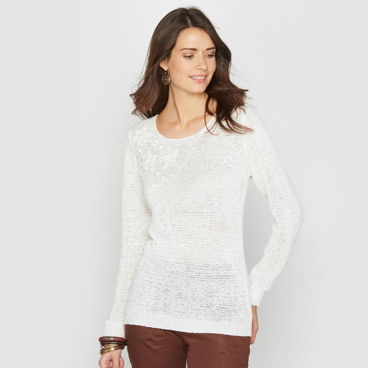 Пуловер из трикотажаПриятный в носке пуловер . Пуловер с круглым вырезом и аппликацией в виде цветов из трикотажа .Состав и описание :Материал : Трикотаж 75% акрила, 25% полиамида .Длина 62 см.Марка : Anne WeyburnУход :Машинная стирка при 30° в умеренном режиме .Гладить при умеренной температуре.<br><br>Цвет: экрю<br>Размер: 42/44 (FR) - 48/50 (RUS)