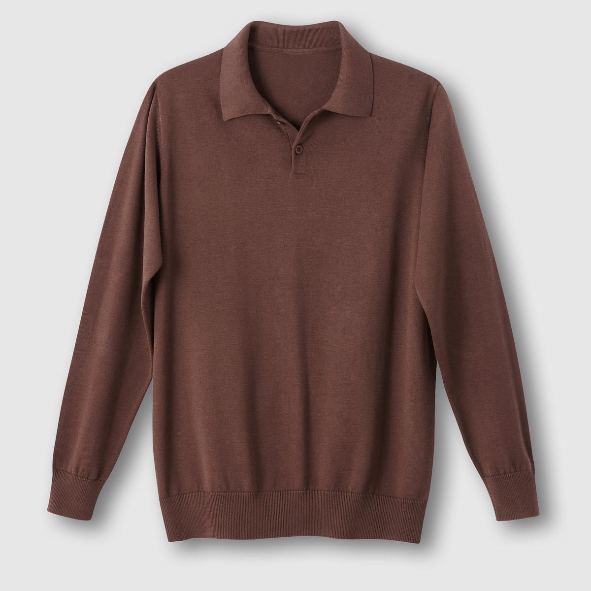 Пуловер с воротником полоПуловер с воротником поло. Длинные рукава. Контрастные нашивки на локтях.Края рукавов и низа связаны в рубчик. Из трикотажа тонкой вязки 100% хлопок. Длина 73 см.<br><br>Цвет: шоколадный