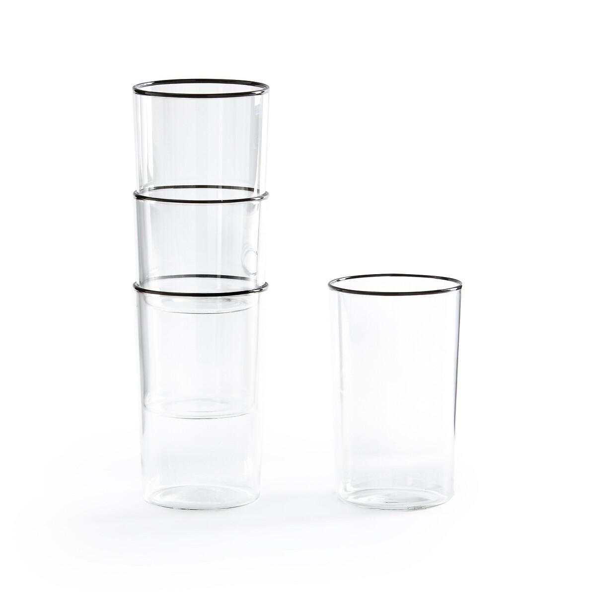 Комплект из 4 высоких стаканов LaRedoute Ammane единый размер черный комплект из 2 вешалок slofia laredoute из березы единый размер черный