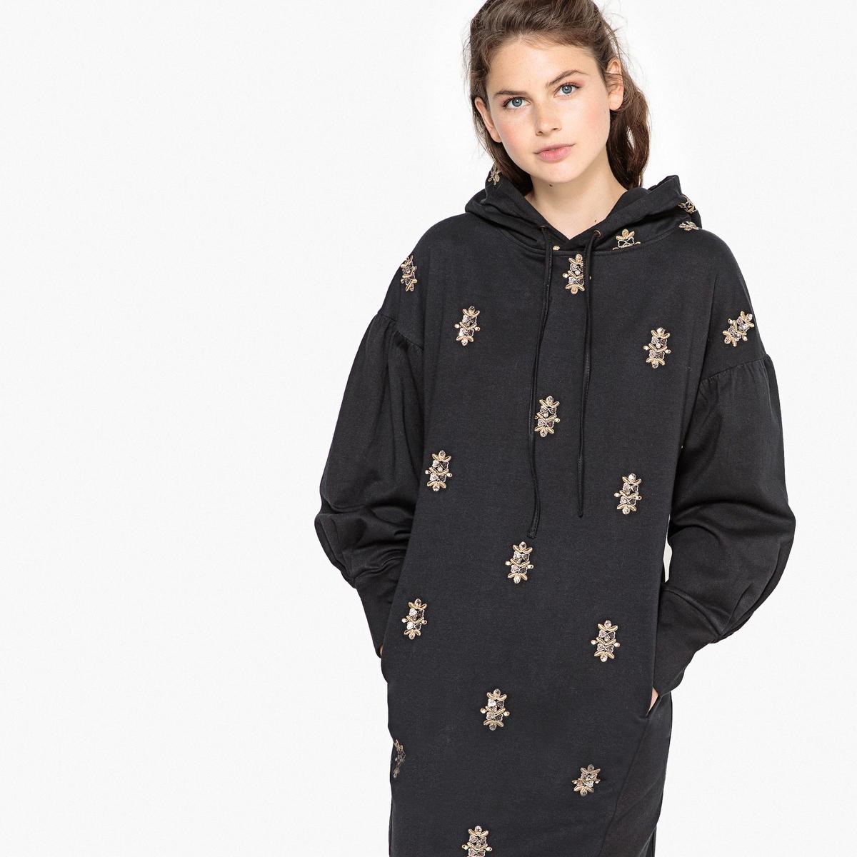 Платье-свитшот La Redoute С капюшоном и вышивкой 34 (FR) - 40 (RUS) черный платье la redoute радужное estelle 36 fr 42 rus черный