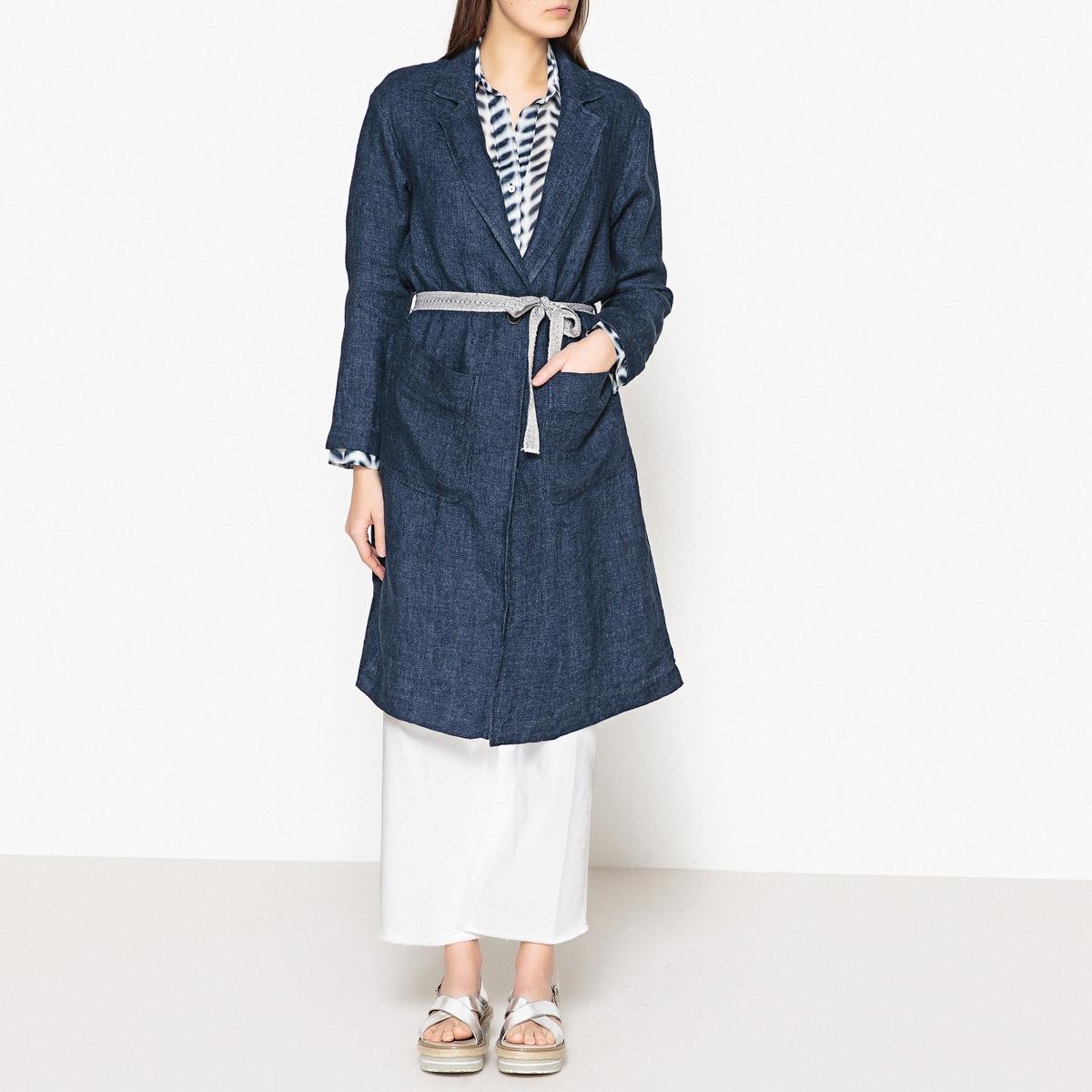 Пальто длинное из 100% льна MARIZO брюки прямые из льна