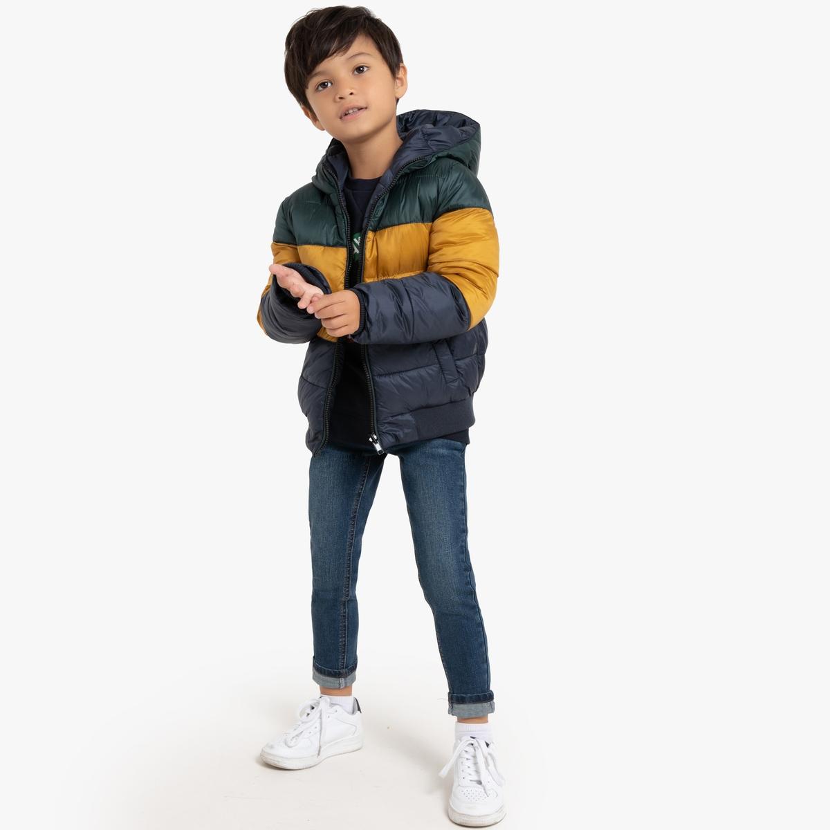 Куртка La Redoute Стеганая с капюшоном утепленная двухсторонняя 3 года - 94 см синий пуховая стеганая куртка с капюшоном