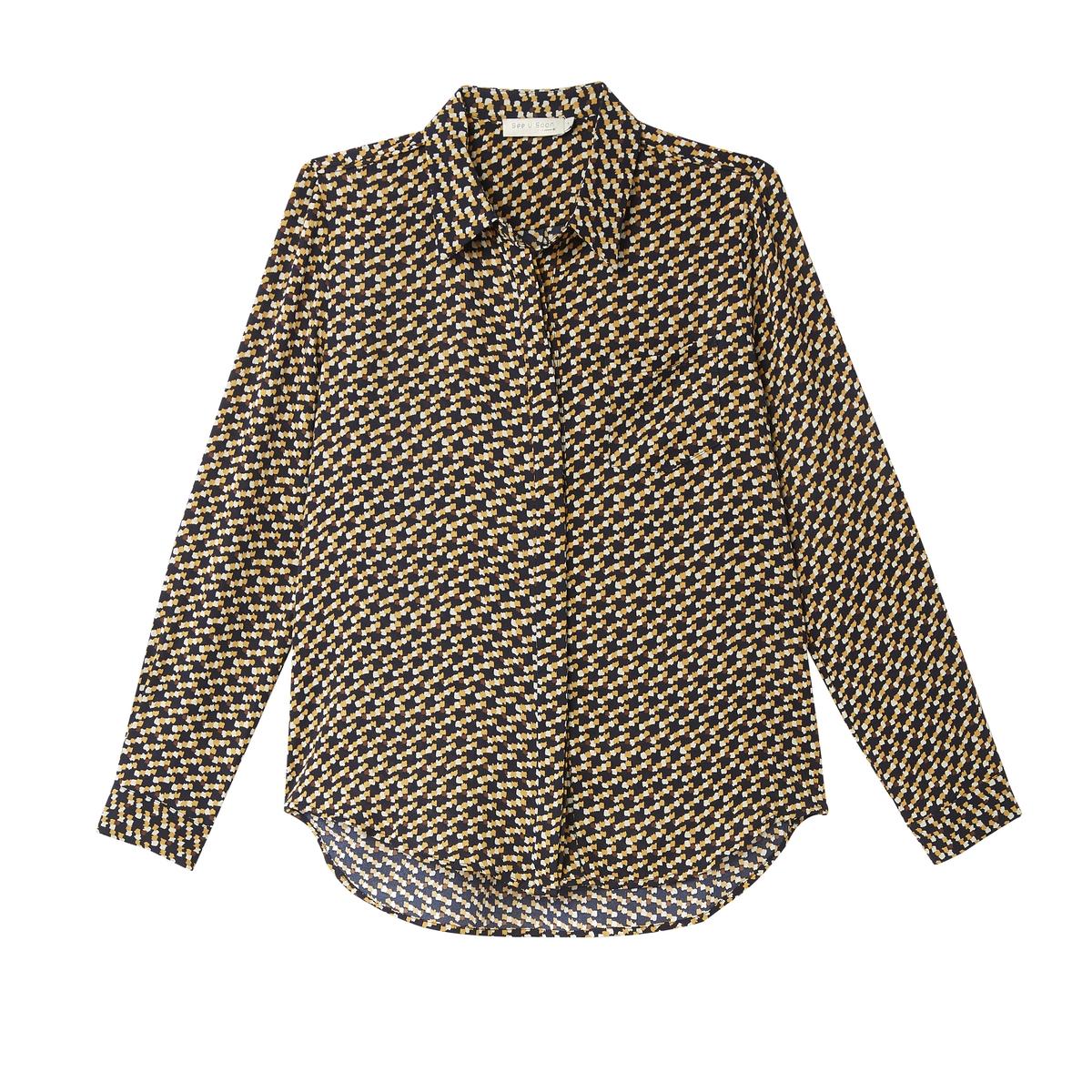 Рубашка с геометрическим принтом  длинными рукавами