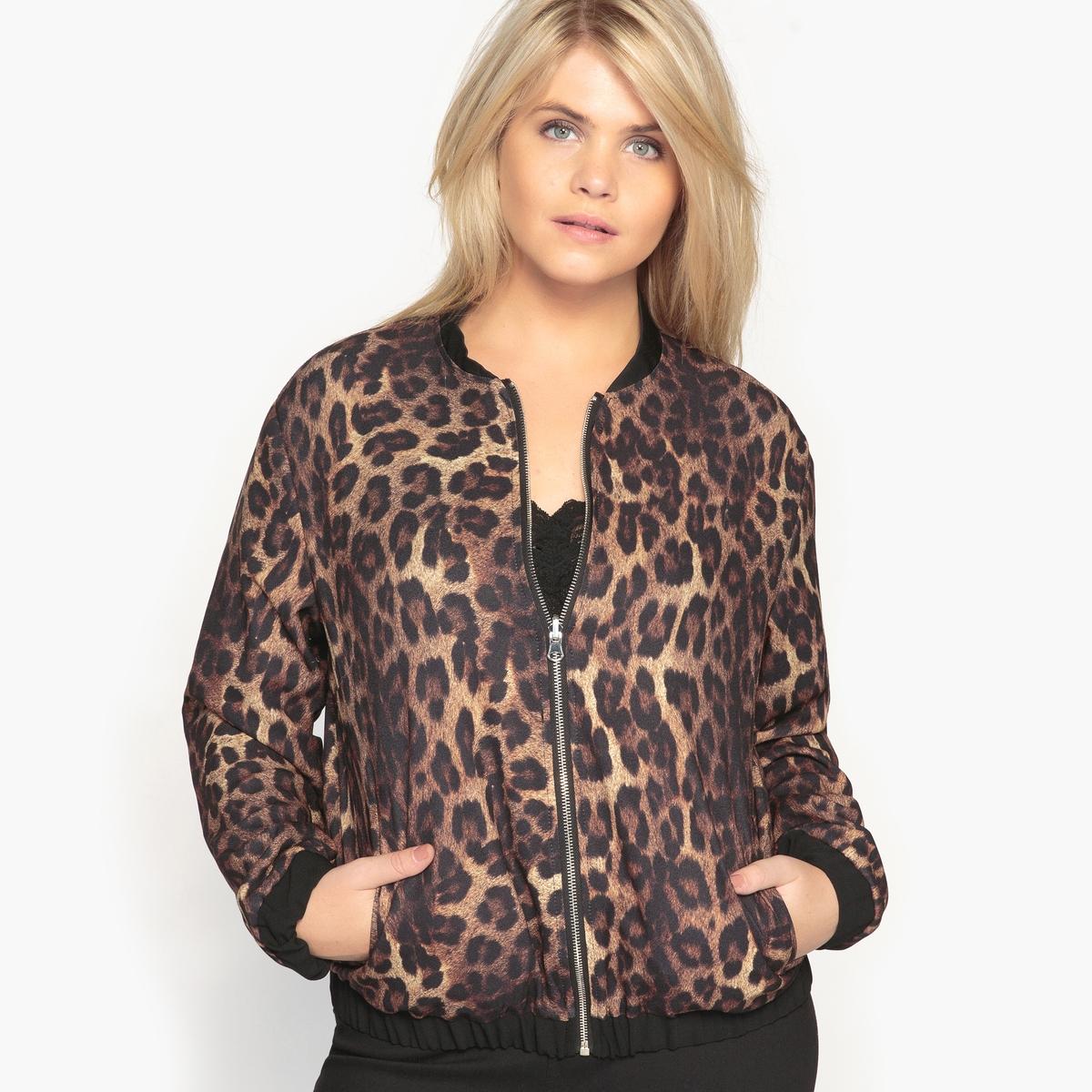 Куртка-бомбер двусторонняя черной/леопардовой расцветокОписание:Двусторонний блузон-бомбер, перед которым нельзя устоять . Леопардовый принт или черный однотонный - вам выбирать в зависимости от вашей одежды . Этот блузон-бомбер должен быть в вашем гардеробе .Детали •  Длина : укороченная •  Круглый вырез •  Застежка на молниюСостав и уход •  100% полиэстер •  Подкладка : 100% полиэстер •  Температура стирки 30°   •  Сухая чистка и отбеливание запрещены •  Не использовать барабанную сушку   •  Низкая температура глажки   ВАЖНО: Товар без манжетТовар из коллекции больших размеров<br><br>Цвет: черный<br>Размер: 44 (FR) - 50 (RUS).52 (FR) - 58 (RUS)