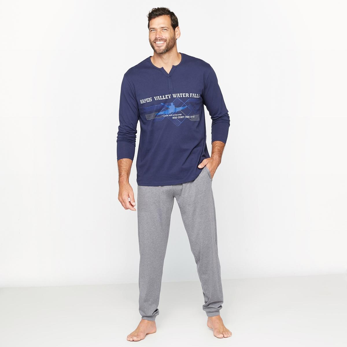 Пижама с круглым вырезом с разрезом спереди и рисунком