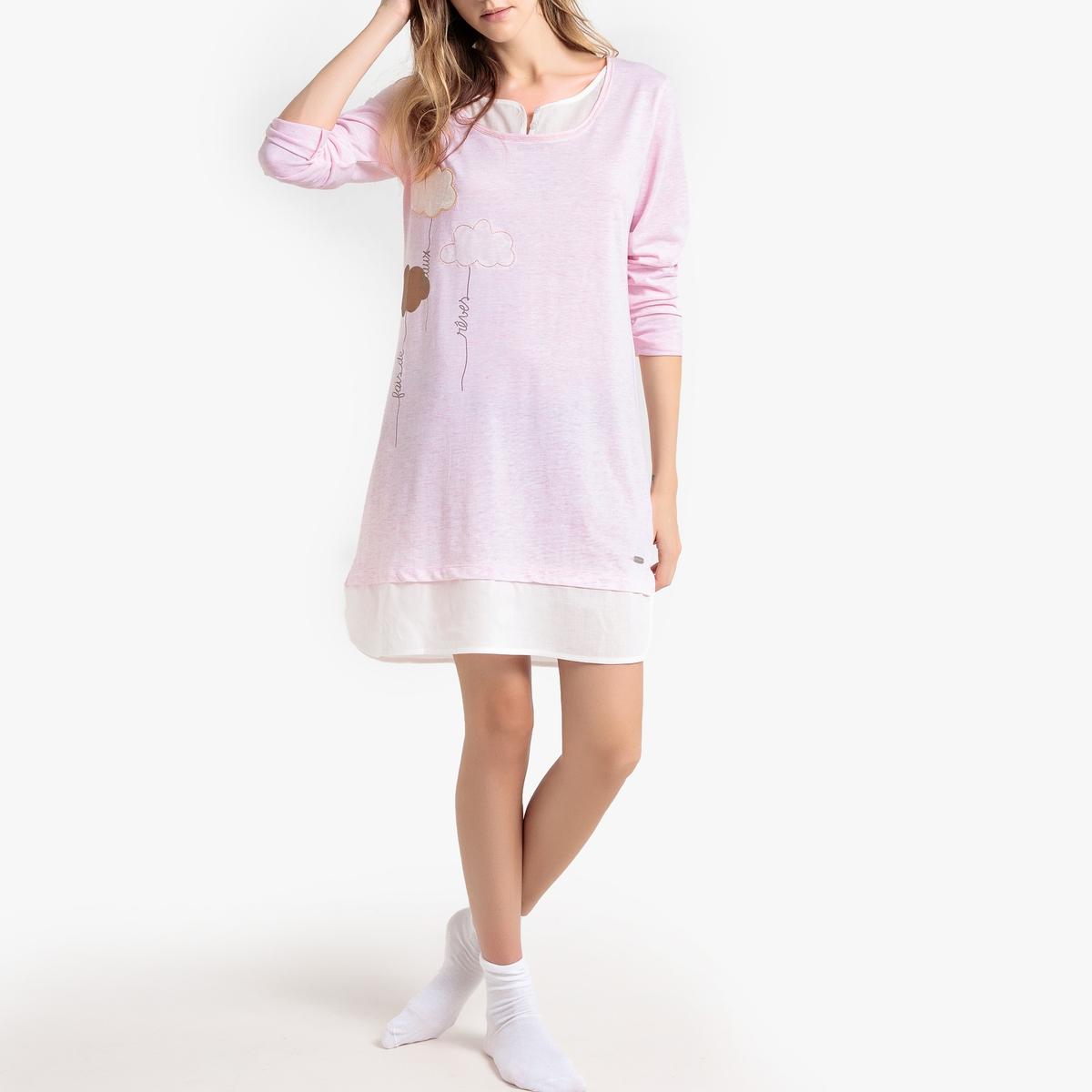 Рубашка La Redoute Ночная из хлопка Intime XL розовый свитшот la redoute la redoute xl розовый
