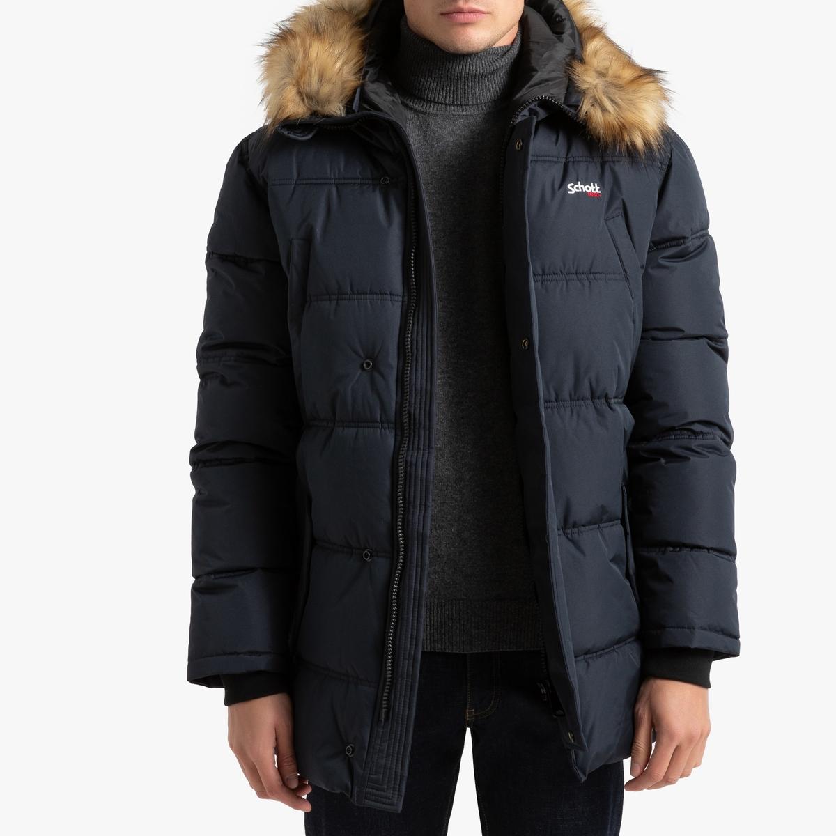 Куртка La Redoute Стеганая длинная с капюшоном Airfur XL синий