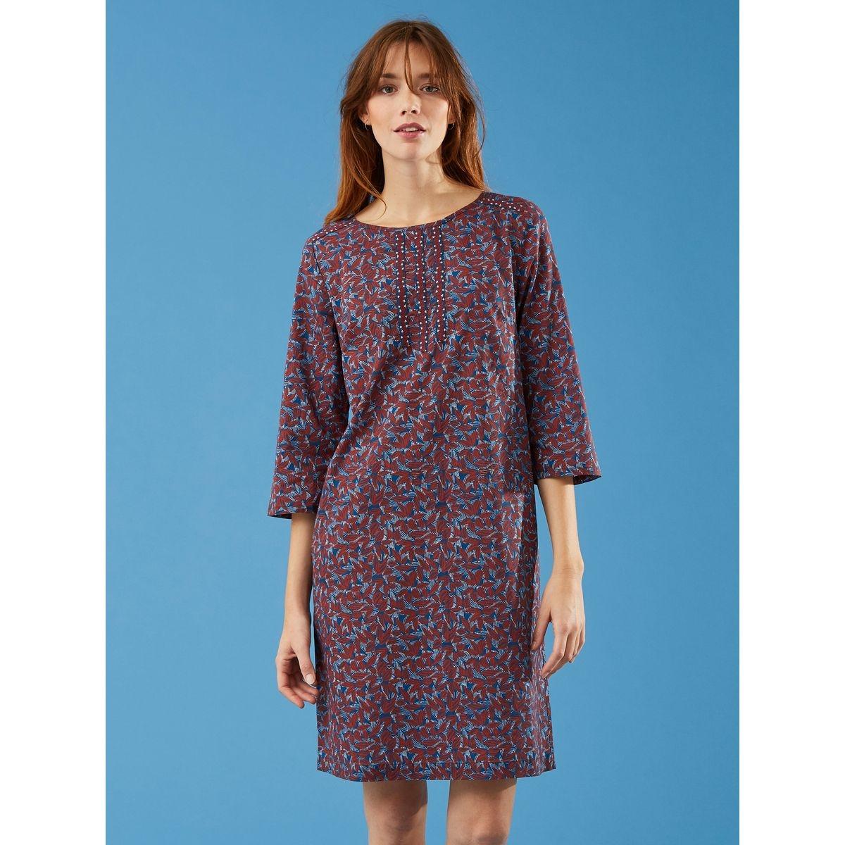 Robe trapèze voile de coton imprimé exclusif Manguier, LAWAS