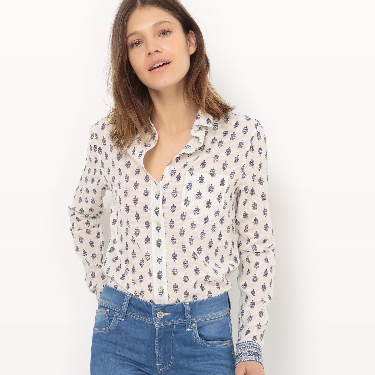 Рубашка с цветочным рисунком, длинные рукава