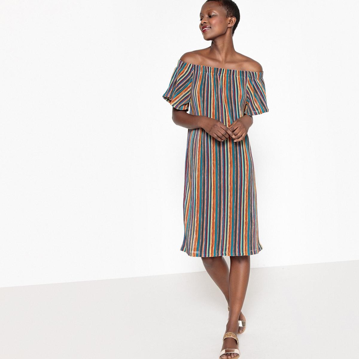 Платье в полоску с короткими рукавами