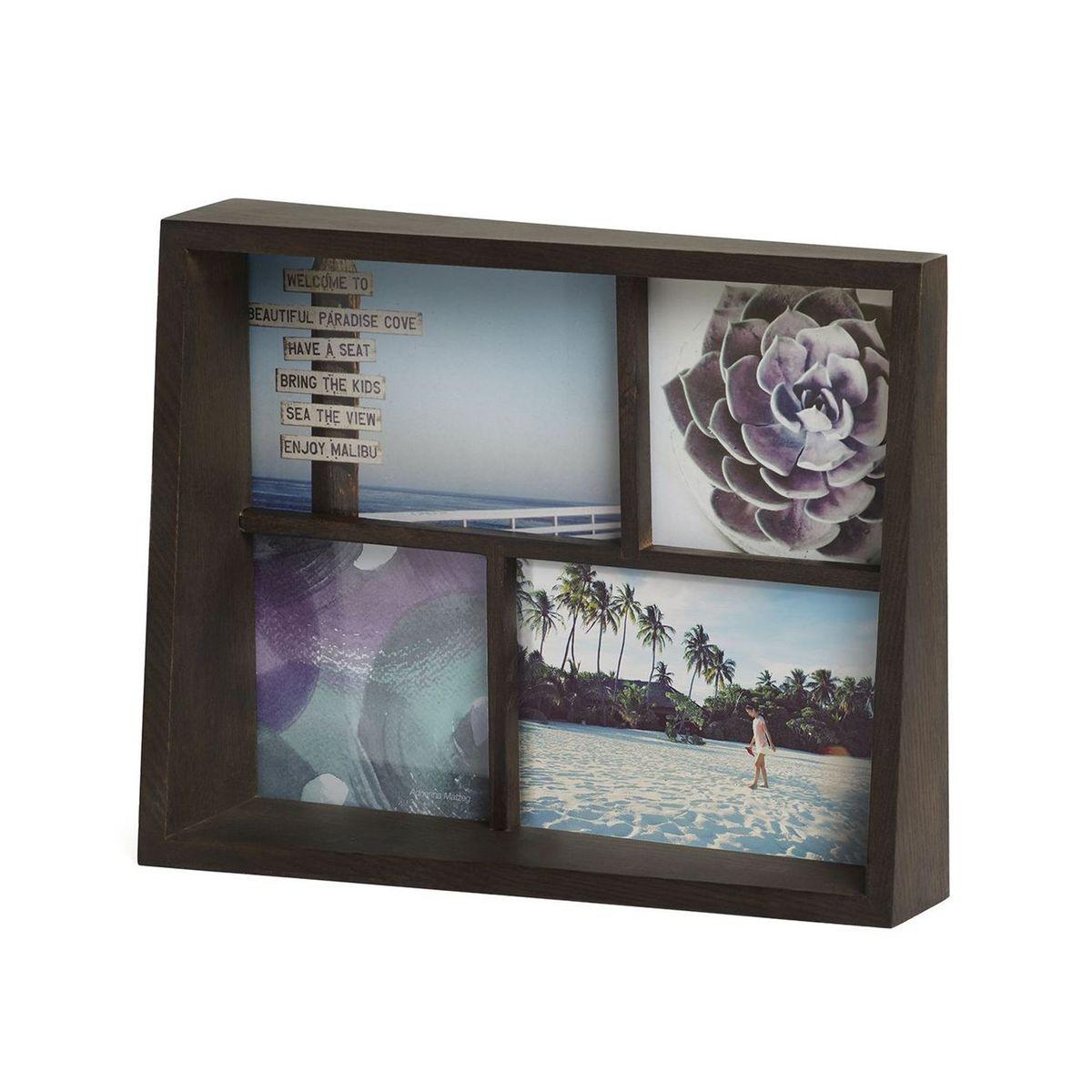 Cadre Edge Multi Desk Noyer pour 4 Photos Umbra