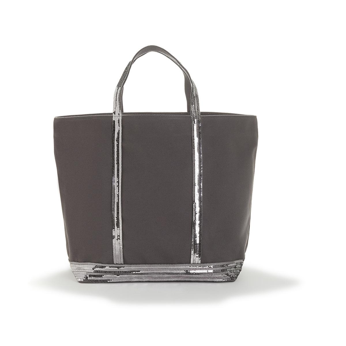 Сумка-шоппер La Redoute Большого размера из ткани с блестками единый размер серый