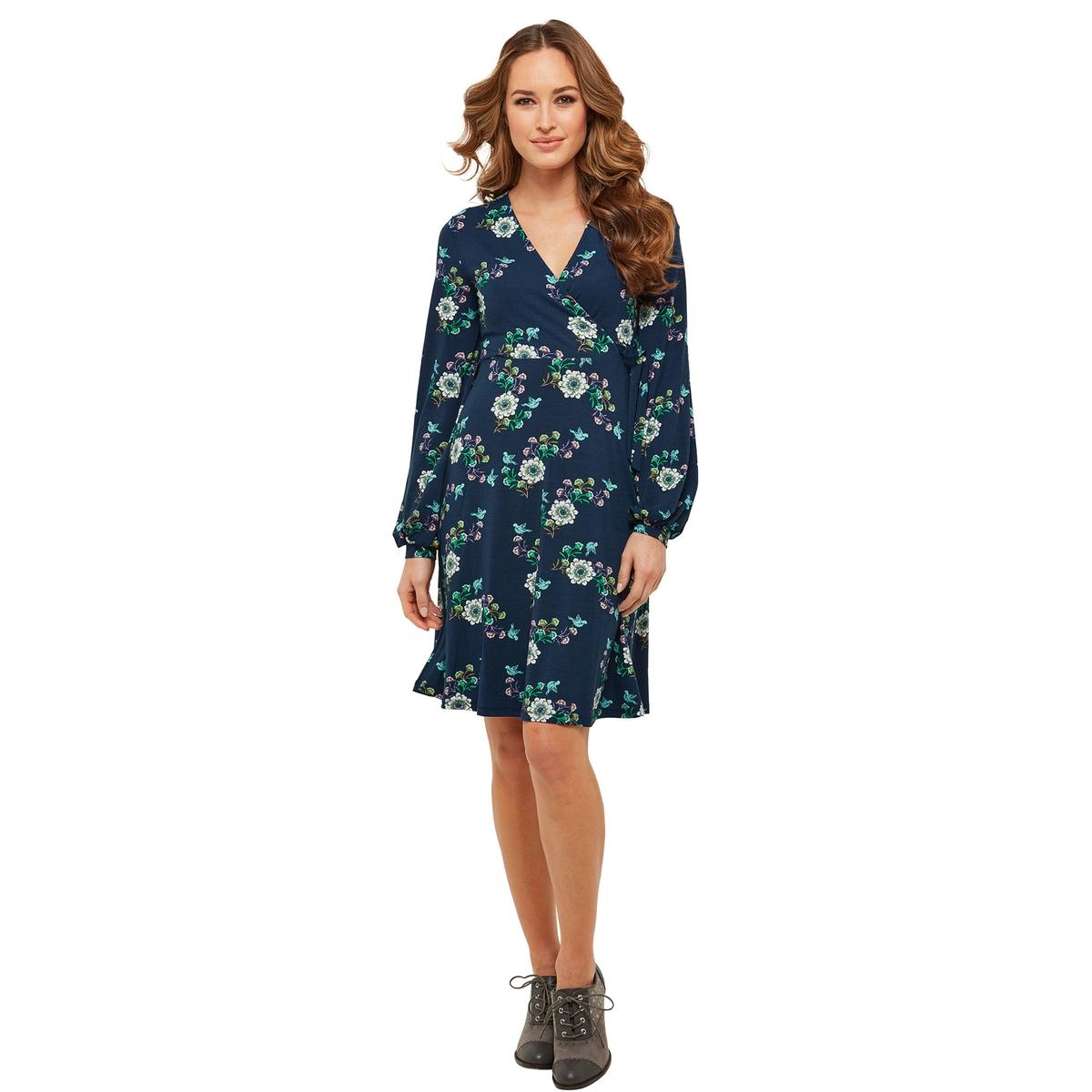 Платье с V-образным вырезом, длинными рукавами и цветочным рисунком платье с запахом длинными рукавами и цветочным рисунком