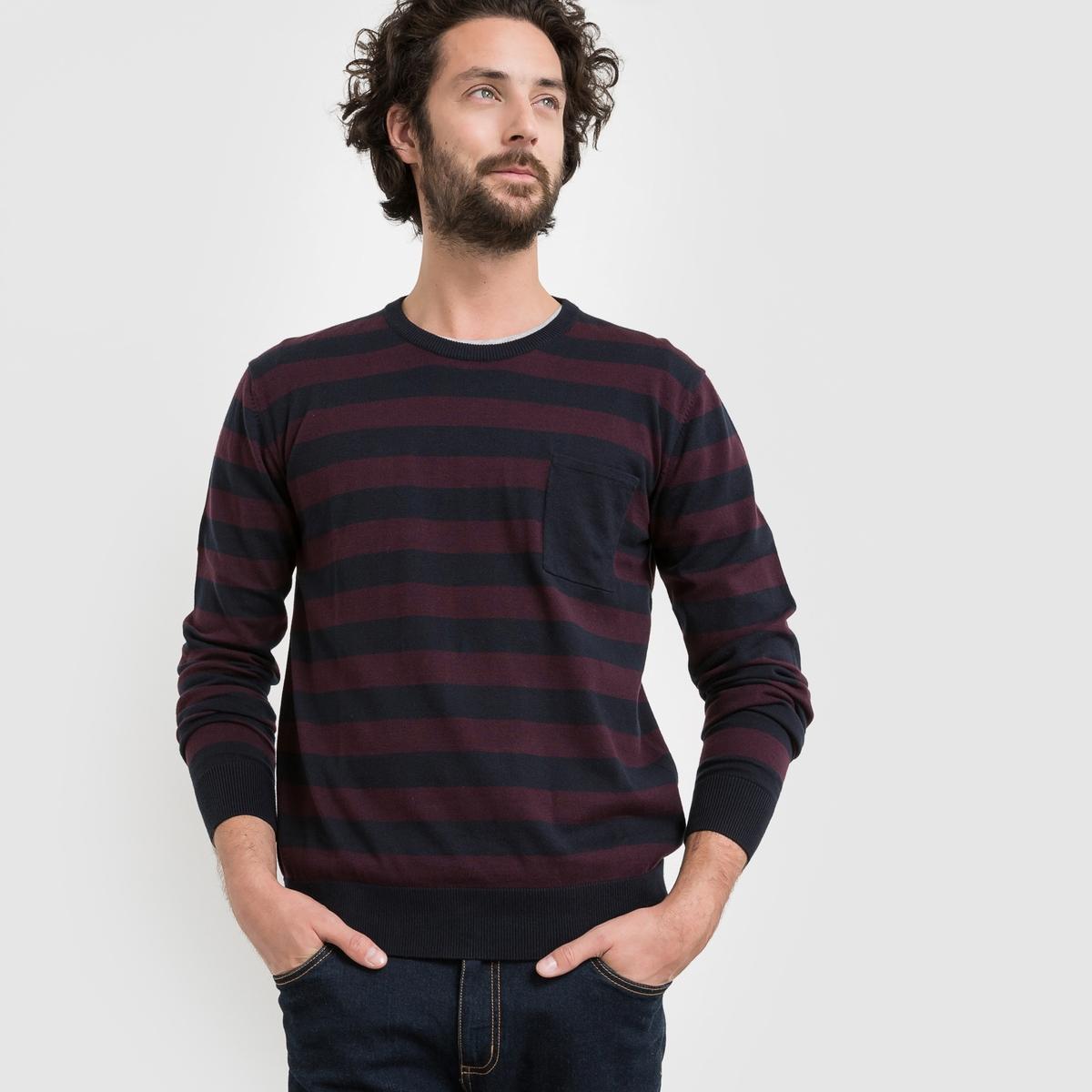 Пуловер с круглым вырезом в полоскуСостав и описание Материал : 80% хлопка, 20% полиамида.                                                              Длина : 67 см            Марка : R edition.<br><br>Цвет: в полоску темно-синий/бордовый<br>Размер: S.XXL