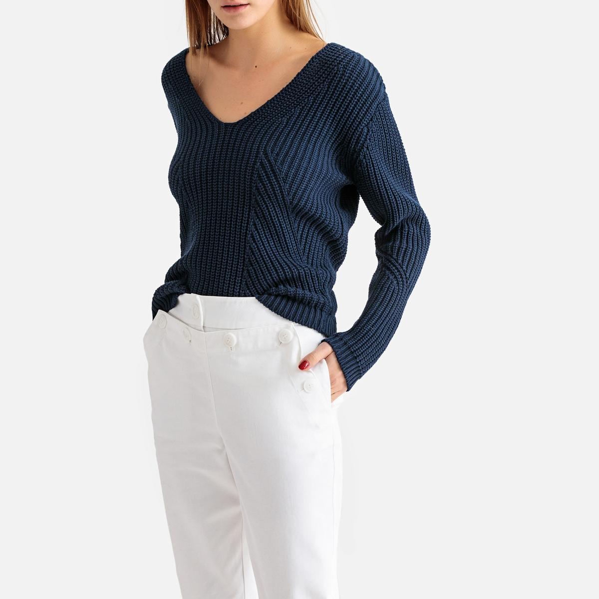 Пуловер с V-образным вырезом из трикотажа 100% хлопок La Redoute Collections