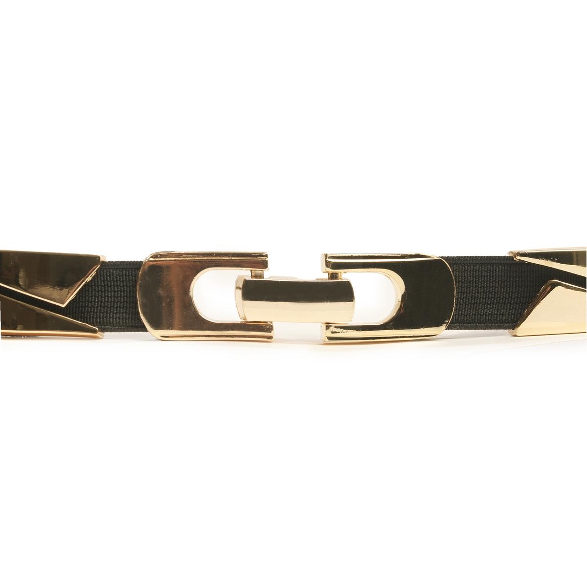 Ремень металлическийМеталлический ремень, R Edition.Отличный металл с графическим рисунком, ремень, который носится на поясе как украшение, чтобы подчеркнуть наряд и силуэт.  Состав и описание :Материал : металл и эластичный материалМарка : R EditionРазмеры : ширина 2 см      Застежка : на металлическую защелку<br><br>Цвет: черный/ золотистый