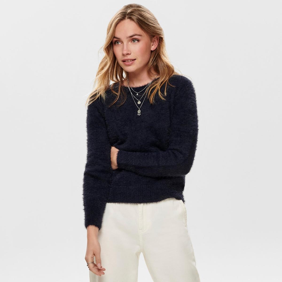 Пуловер La Redoute С ворсом с круглым вырезом и длинными рукавами S синий свитшот la redoute с круглым вырезом и вышивкой s черный