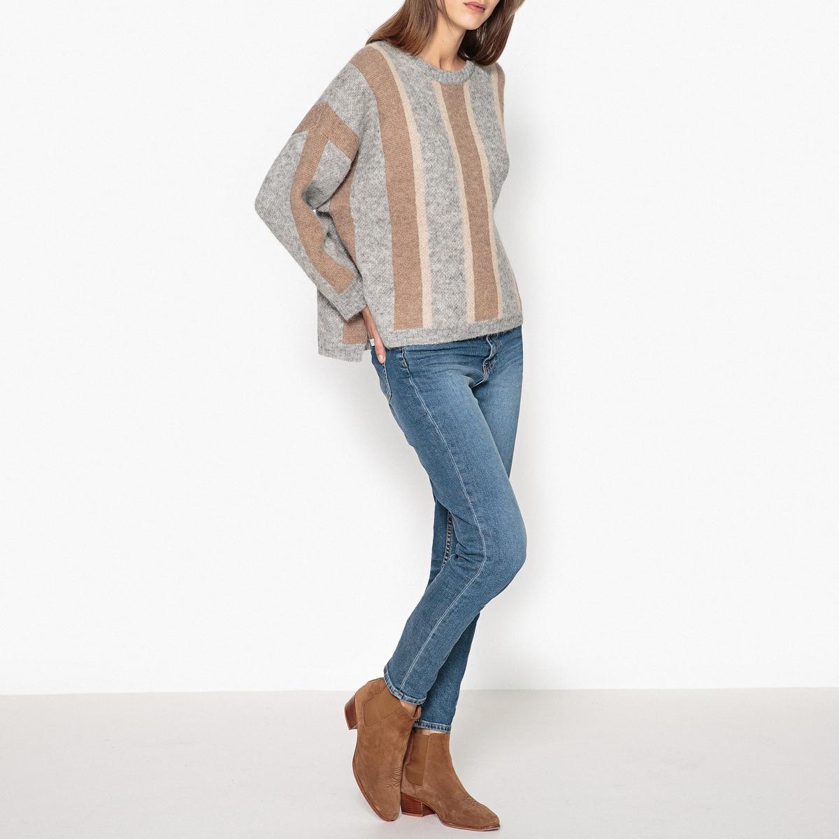 Пуловер свободный CAMPEURСвободный пуловер PAUL AND JOE SISTER - модель CAMPEUR с рисунком в вертикальную полоску и удлиненной спинкой.Детали •  Длинные рукава •  Круглый вырез •  Тонкий трикотажСостав и уход •  55% альпаки, 45% полиамида •  Следуйте советам по уходу, указанным на этикетке •  Разрезы по бокам<br><br>Цвет: серый