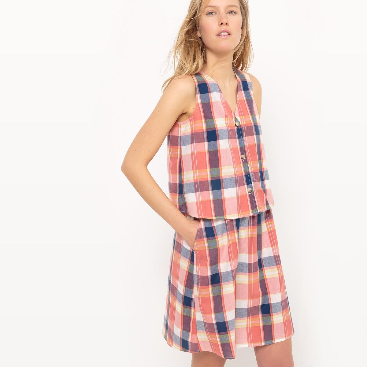 Платье короткое в клетку из ткани мадрас