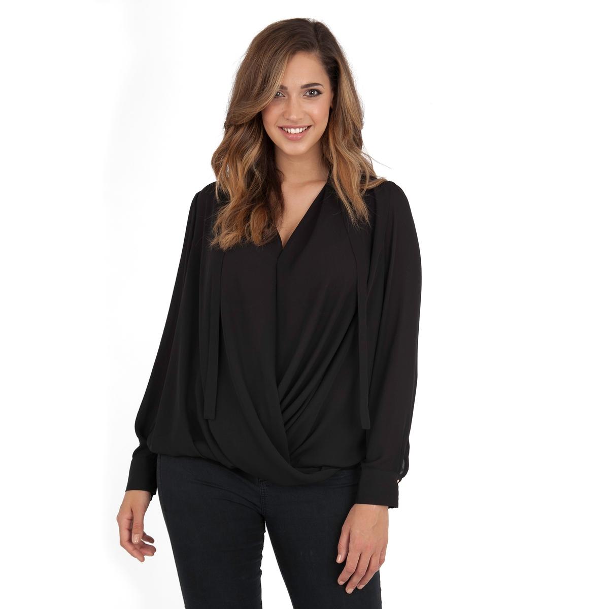 БлузкаБлузка с длинными рукавами LOVEDROBE . Красивый эффект драпировки спереди . Пуговицы на манжетах . 100% полиэстер.<br><br>Цвет: черный<br>Размер: 54/56 (FR) - 60/62 (RUS)