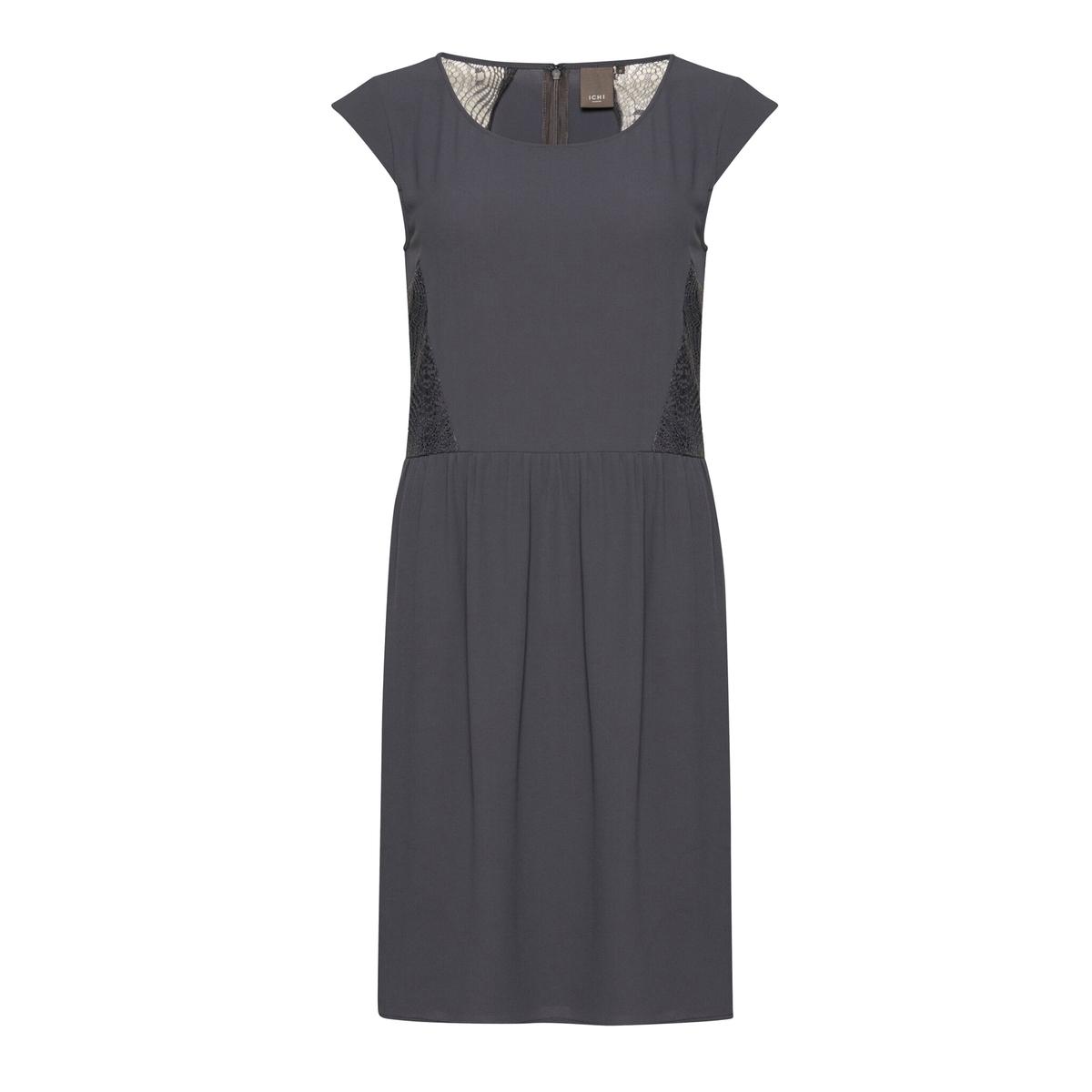 Платье из струящейся ткани с короткими рукавами BLAKEСостав и описаниеМарка: ICHI.Модель: BLAKE.Материалы: 97% полиэстера, 3% эластана.<br><br>Цвет: синий