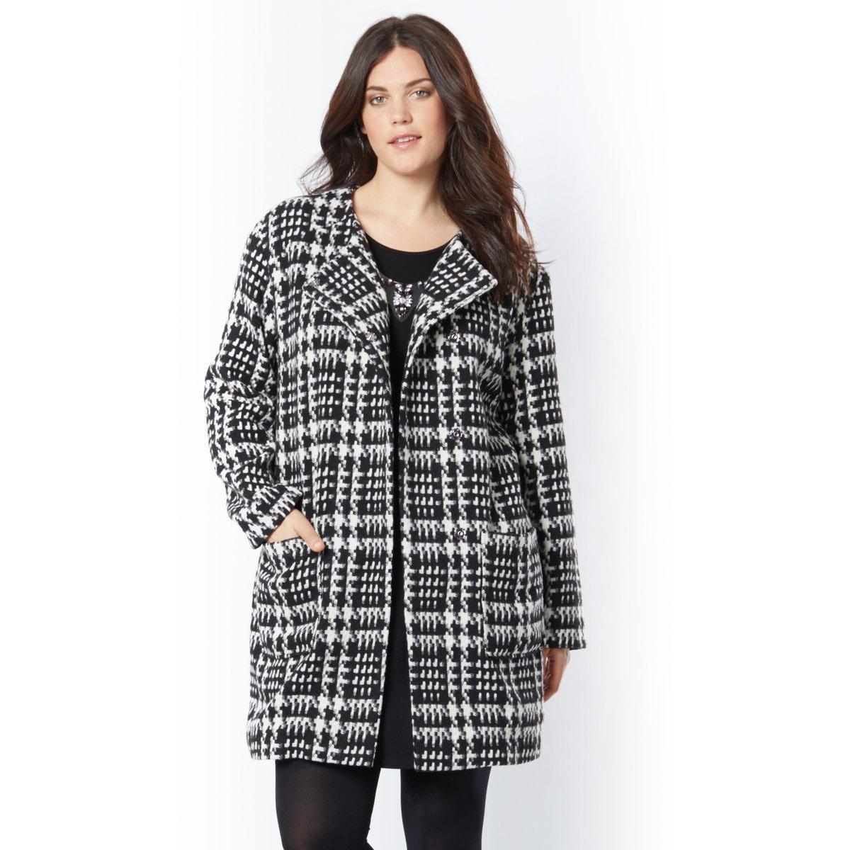 Пальто прямого покроя<br><br>Цвет: узор куриная лапка<br>Размер: 42 (FR) - 48 (RUS)