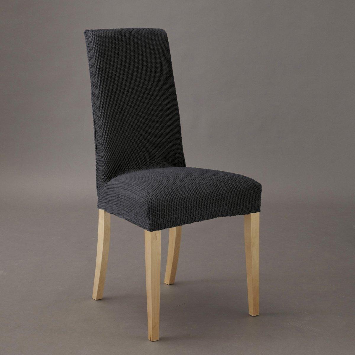 Чехол для стула АхмисХарактеристики : -гофрированная ткань, 55% хлопка, 40% полиэстера, 5% эластана  стирка при 30° .  Эластичный низ, идеально обтягивает стул  !Размеры : Спинка :Высота  : 54 см максимум 68 см Ширина  : 34 см максимум 53 см Сиденье :Высота  : 10 см Ширина  : 29 см максимум 54 см Глубина : 26 см максимум 43 см Чехол для дивана и чехол для кресла из коллекции Вы можете найти на laredoute . ru .<br><br>Цвет: антрацит,бежевый,красный,серо-коричневый каштан,серый,черный<br>Размер: единый размер.единый размер