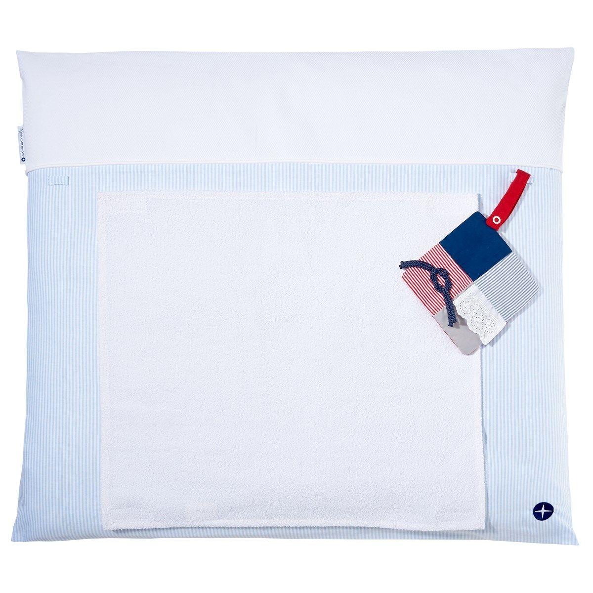 Matelas à langer 70x80cm lavable tissu en bleu avec serviette imperméable