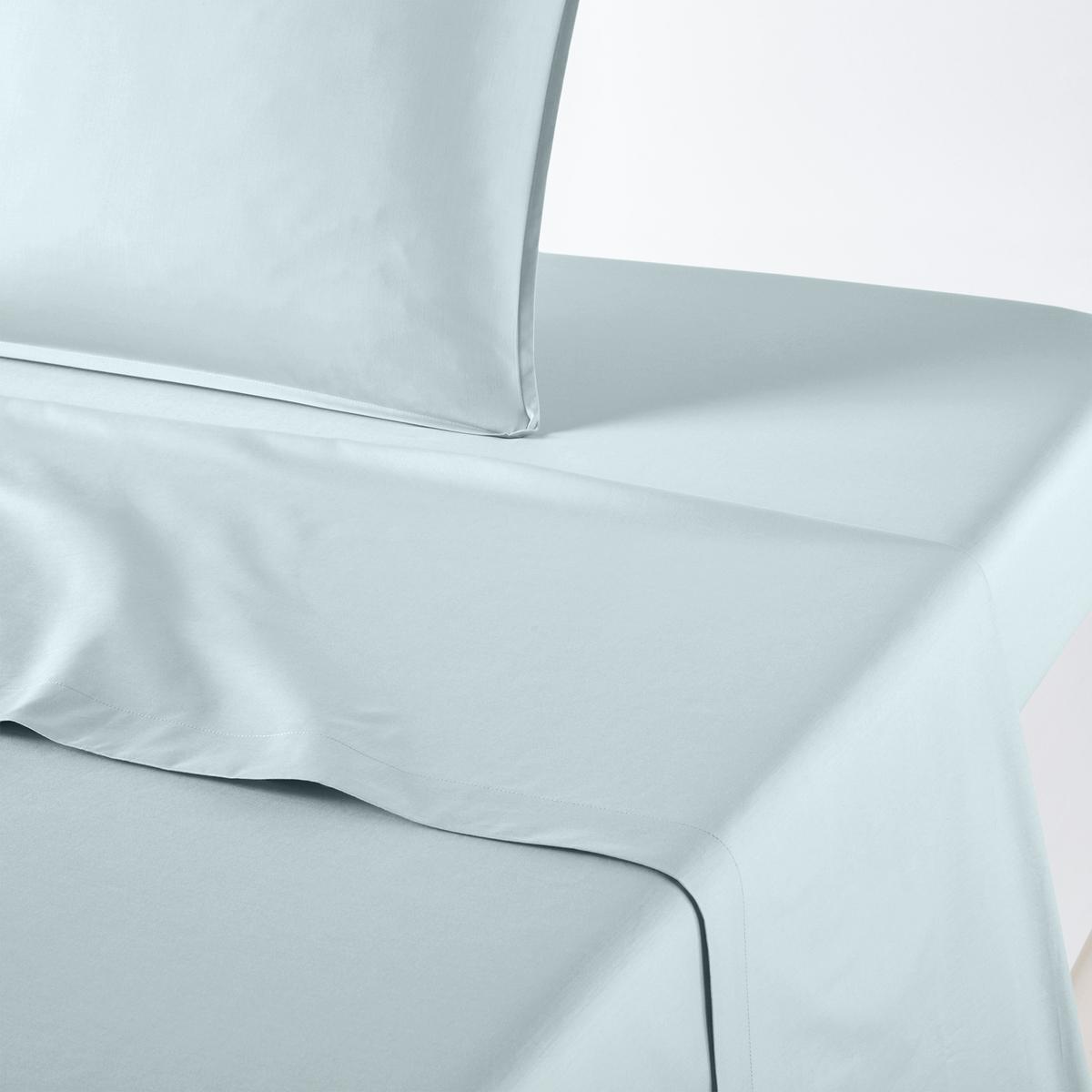 Фото - Простыня LaRedoute Плоская однотонная из хлопка и лиоцелла Lyo 180 x 290 см синий простыня laredoute однотонная из стираного хлопка mirni 240 x 290 см белый