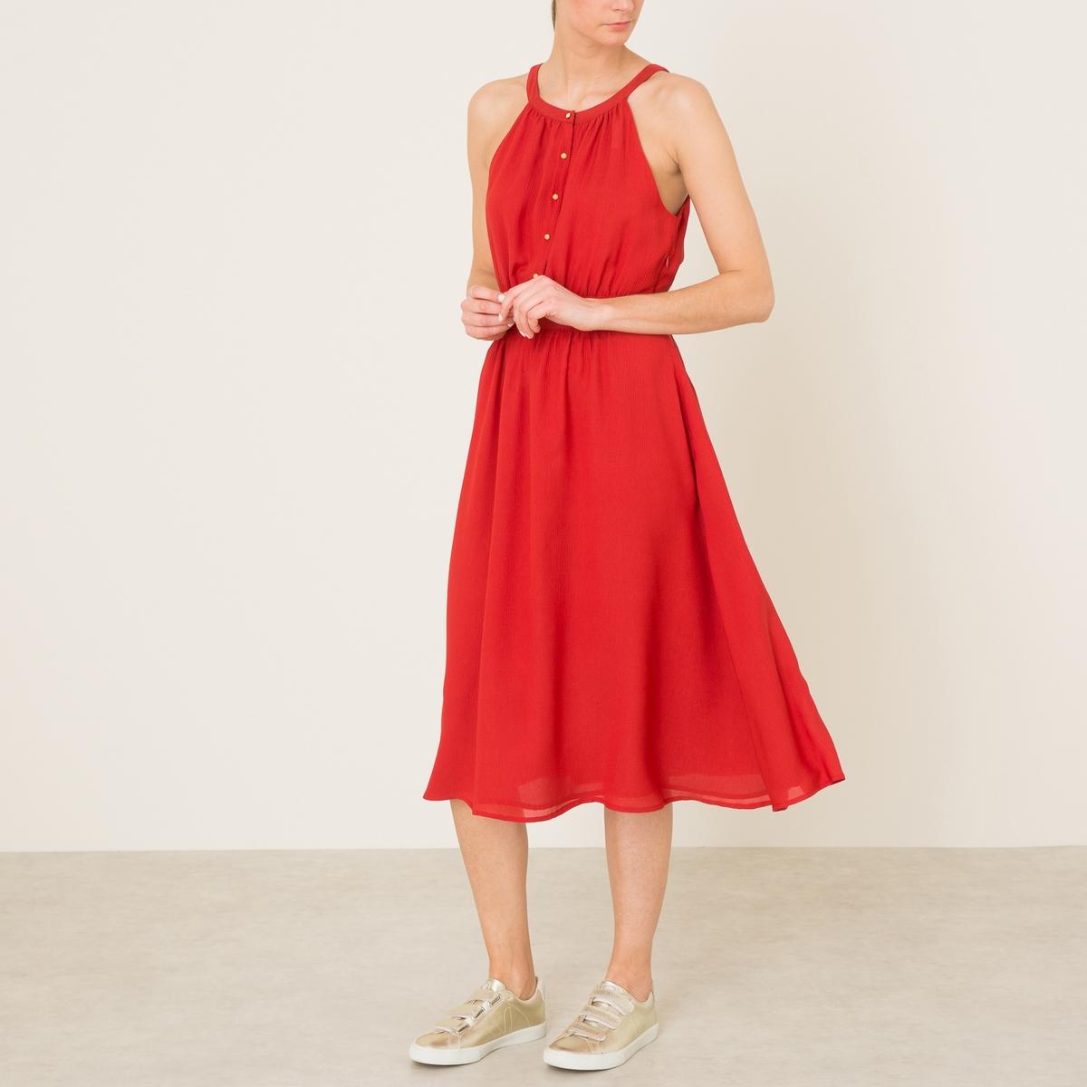 Платье длинное TEHUACANПлатье длинное SESSUN - модель TEHUACAN из шелка и вискозы . Вырез с колье . Тонкие бретели. Вырез с золотистыми пуговицами . Отрезная деталь по талии. Застежка на скрытую молнию сбоку.Состав и описаниеМатериал : 59% шелка, 41% вискозыПодкладка : 100% полиэстерДлина : ок. 110 см. (для размера 36)Марка : SESSUN<br><br>Цвет: красный