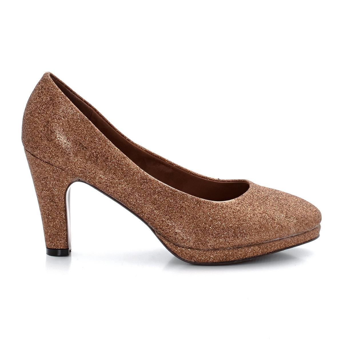 Туфли на каблуке с блесткамиДостоинства: небольшая платформа толщиной 1,5 см в передней части и каблук с покрытием.<br><br>Цвет: бронзовый металлик,черный металлизированный<br>Размер: 39.39