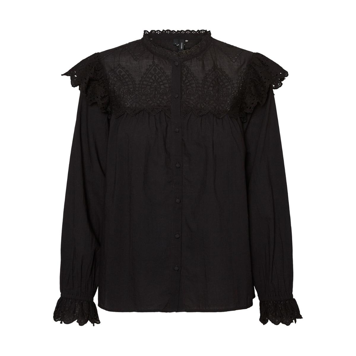 Блузка La Redoute С воротником-стойкой вышивкой и воланом L черный блузка la redoute с отложным воротником с вышивкой мес года 1 мес 54 см красный
