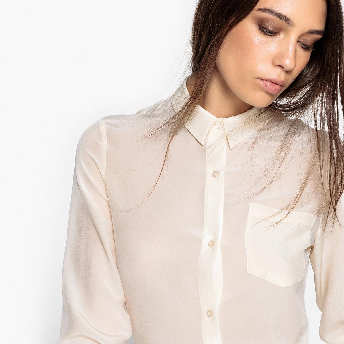 Koszula jedwabna z kieszonką na piersi
