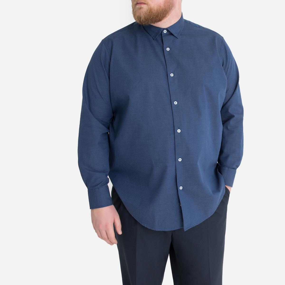 Рубашка La Redoute Прямого покроя большого размера из микрофибры 47/48 синий